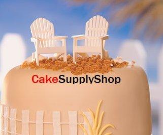 CakeSupplyShop White Small Mini Decorative Adirondack style Chair Cake Decoration Toy Toppers set of 2