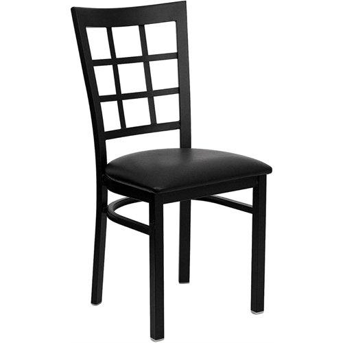 Flash Furniture HERCULES Series Black Window Back Metal Restaurant Chair - Black Vinyl Seat