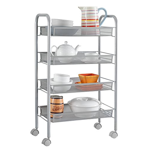 LANGRIA 4-Tier Mesh Wire Rolling Kitchen Cart Storage Cart Multifunction Rolling Cart for Serving Utility Organization with Easy Moving Flexible WheelsGrey