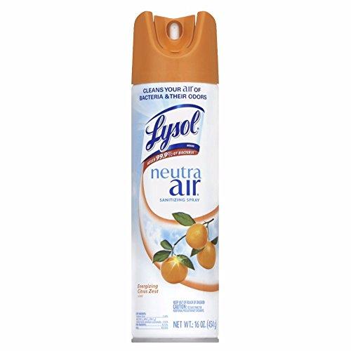 Lysol Neutra Air Sanitizing Spray Air Freshener Aerosol Energizing Citrus Zest 16 Ounce