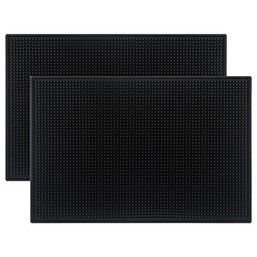 Tebery Black Mat 18 x 12 Rubber Bar Service Spill Mat  2 pack