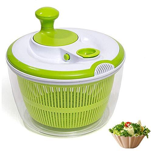 DenSan Crank Handle Locking Lid Multifunction 45 Quart Manual Good Grips Vegetables Dryer Dry Off Drain Quick Filter Lettuce vegetable Salad SpinnerGreen