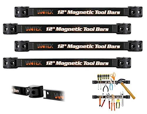 Vanitek 4 Heavy-Duty 12 Magnetic Tool Holder Racks  Super Strong Metal Magnet Storage Tool Organizer Bars Set  Great for GarageWorkshops Mounting Screws Included