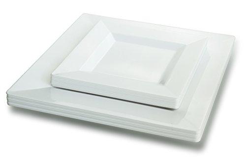OCCASIONS  50 Pack Disposable Square Plastic Plates Set - 25 x 95 Dinner  25 x 6 Dessert …  Square White