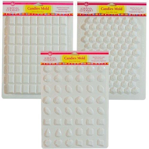 Lorann Hard Candy Making Mold Gems Set - Includes Jewels Break Apart Hexagon and Break-apart Rectangle