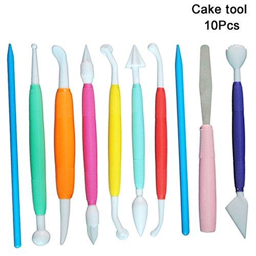 Ogrmar Multicolor DIY Cake Fondant&Gumpaste Decorating Modeling Tools SetPack of 10 10