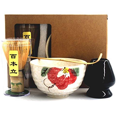 Complete Start Up Matcha Tea Kit - Retro Japanese Natural Bamboo Matcha Whisk  Chasen  - Scoop - Matcha Bowl - Whisk Holder - Ceremony Matcha tea Sets Peony 4 PCS