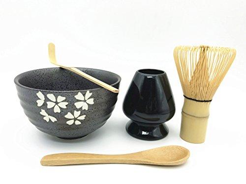 Home Soul Gift box Matcha Tea Ceremony SetInclude 5 ItemsBamboo Whisk ChasenWhisk HolderBamboo Spoon ScoopCeramic Matcha Bowl-Complete Matcha Start Up Kit Black