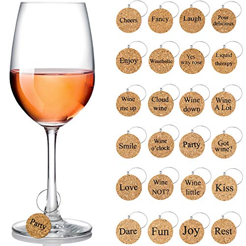 Wine Glass Charms Markers Drink Markers for Wine Glass Champagne Flutes Cocktails Martinis Wooden 24 Pieces