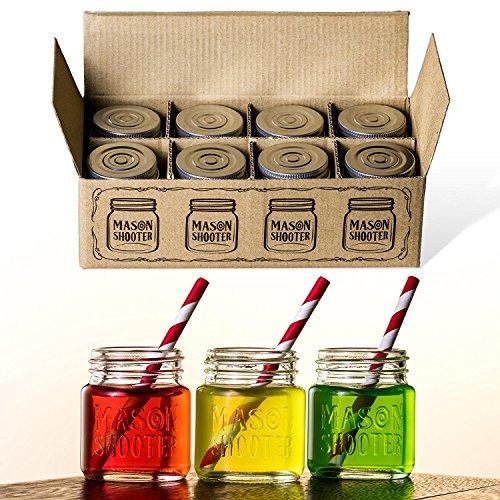 Hayley Cherie - Mason Jar Shot Glasses with Lids Set of 8 – Mini Mason Shooter Glass - 2 Ounces