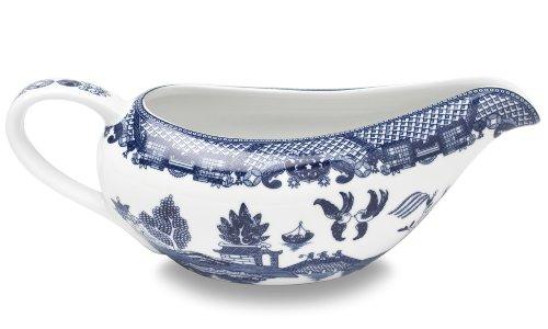 HIC Blue Willow Gravy Boat Fine White Porcelain 20-Ounces
