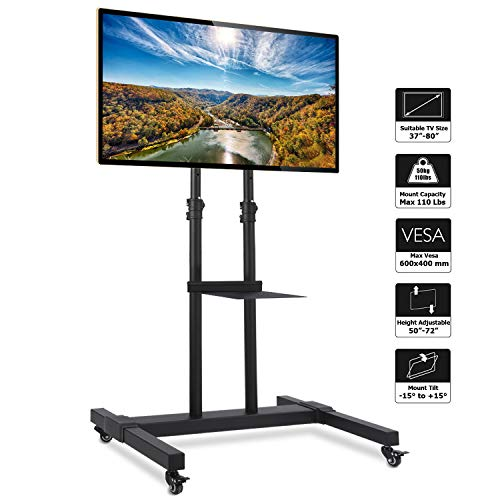 Rfiver Mobile TV Stand Rolling TV Cart with Tilt Mount and Locking Wheels for Most 37-80 LCD LED Flat Screen Curved TVs Black Display Trolley Floor Stand Height Adjustable Max Load 110 Lbs