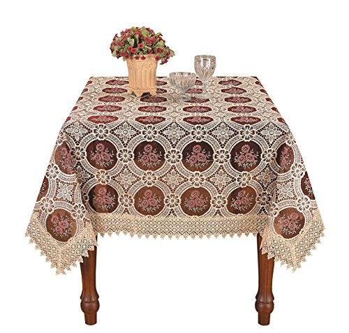 Simhomsen Vintage Burgundy Lace Tablecloth Embroidered Table Linen Square 56 Inch