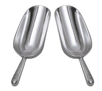 SET OF 2 12 Oz Ounce Bar Ice Scoop Dry Bin Scoop Dry Goods Scoop Candy Scoop Spice Scoop Cast Aluminum