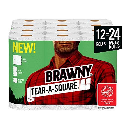 Brawny Tear-A-Square Paper Towels 12  24 Regular Rolls 3 Sheet Size Options Quarter Size Sheets 12 Count