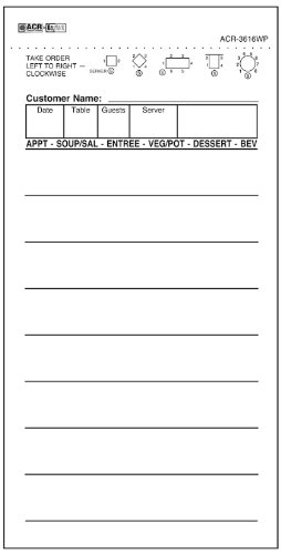 DayMark ACR-G3616WP Guest Check Board 1 Part White 50 Books 100 Checks per Book