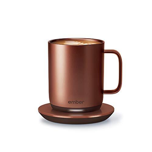 NEW Ember Temperature Control Smart Mug 2 10 oz Copper 15-hr Battery Life - App Controlled Heated Coffee Mug - Improved Design