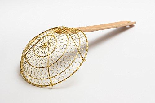 Chinese Brass SkimmerStrainer 6 inch diameter spider with bamboo handle  732W7 by Craft Wok