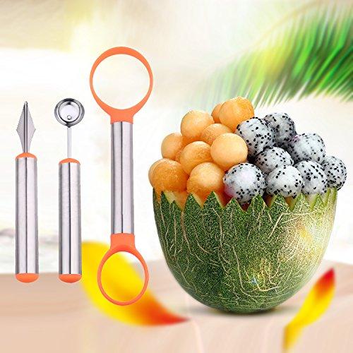 WAAO 3-in-1 Stainless Steel Melon Baller Carving Knife Fruit Scoop Set for Fruit Slicer Dig Pulp Separator and Carve