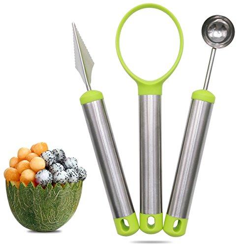 Xcellent Global Melon Baller Carving Knife Fruit Scoop 3 Piece Set Stainless Steel for Fruit Slicer Dig Pulp Separator HG204