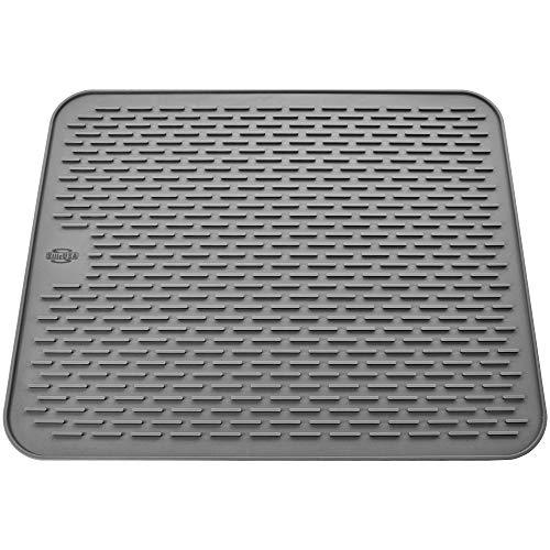 Silicone Dish Drying Mat - Large 197x157 - Sink Mat - Dish Draining Mat - Silicone Trivet Mat - Heat Resistant - Countertop Mat - Kitchen Drying Mat - Color Gray