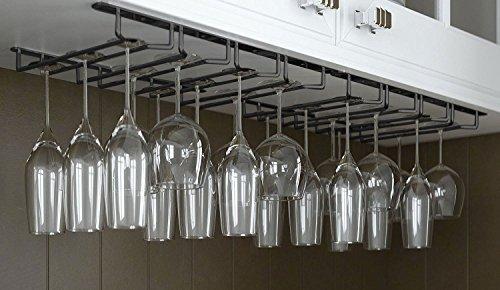 JMiles Under Cabinet Hanging Stemware Rack Hold Up To 24 Wine Glasses Black