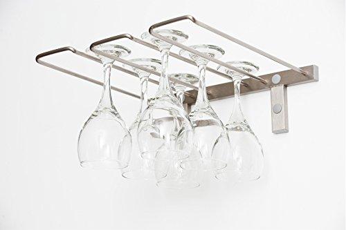 VintageView - Triple Deep Stemware Rack in Brushed Nickel 6 glasses