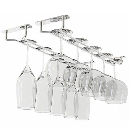 WALLNITURE Stemware Wine Glass Rack Hanger Under Cabinet Storage Chrome Finish 17 34 Inch Set of 2