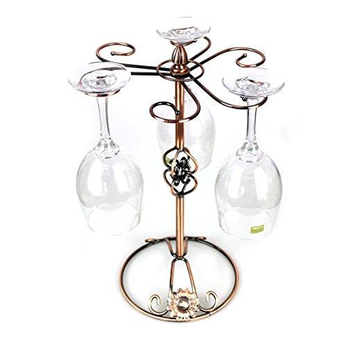 Wine Glass Drying Racks Wine Glass Holder Stand with 6 Hooks Bronze Metal Stemware Rack Without Wine Glass