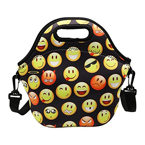 Amerzam Neoprene Lunch BagsLunch Boxes Waterproof Outdoor Travel Picnic Lunch Box Bag Tote with Zipper and Adjustable Crossbody Strap for Women Men Kids Girls Adults Emoji Lunch Bag