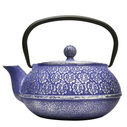 Primula Cast Iron Teapot  Blue Floral Design wStainless Steel Infuser34 oz