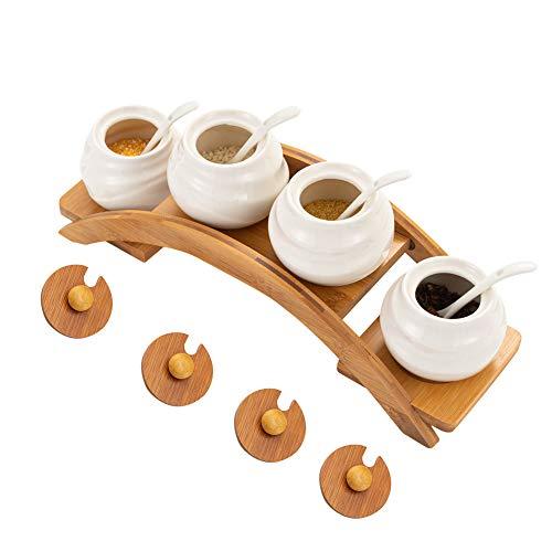 Condiment Jars Pot Seasoning Box Set Ceramic Seasoning Container Rack Spice Box Sugar Bowls for Home Kitchen Storage Set of 4
