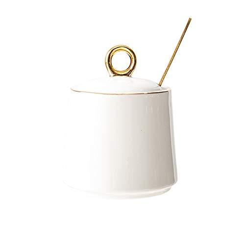DoDola Ceramics Sugar Bowl with Lid and Spoon Condiment Pots Seasoning Box Gold White
