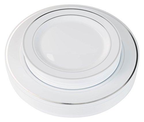 Exquisite Reflective Silver Line Plastic Plates-60 Peices Premium Heavyweight Plastic Dinnerware 30- 1025 Dinner and 30 - 75 SaladDinner Wedding Like China