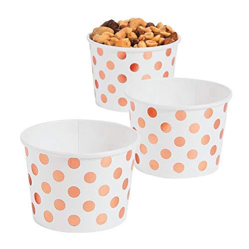 Fun Express - Rose Gold Polka Dot Snack Bowl dz for Wedding - Party Supplies - Print Tableware - Print Plates Bowls - Wedding - 12 Pieces