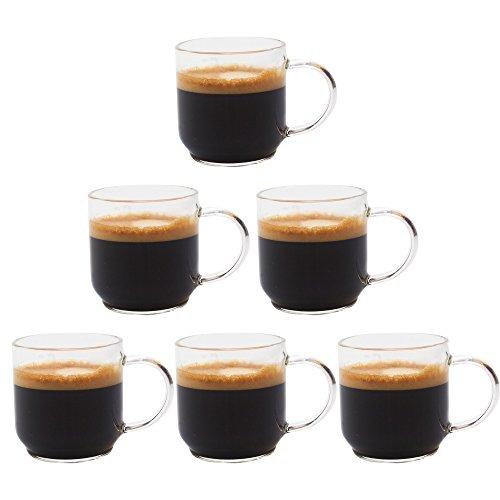 Zenco 4 oz 125ml Coffee Glass Cups Gift Set Set of 6 - Perfect size for Nespresso Lungo SingleDouble Espresso Cappuccino Latte Sake