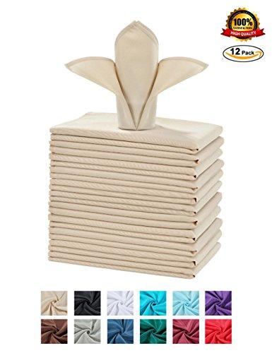 Cieltown Polyester Cloth Napkins 1-Dozen 20 x 20-Inch beige