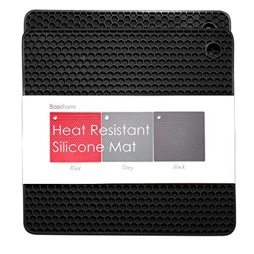 BasicForm Silicone Trivet Square Honeycomb Pattern 75x75x031 Inches Set of 2 Black