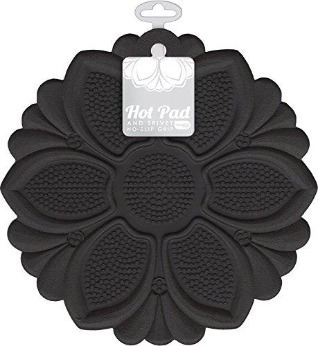 Talisman Designs No-Slip Grip Hot Pad Pot Holder Trivet BPA-free Silicone Black 75 Diameter