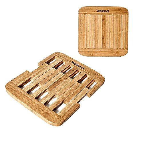 Welland Bamboo Expandable Trivets Heavy Duty Hot Pot Holder Pads