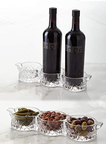 Crystal Bottle Coaster - Wine Bottle Holder- Relish Dish Condiment Server