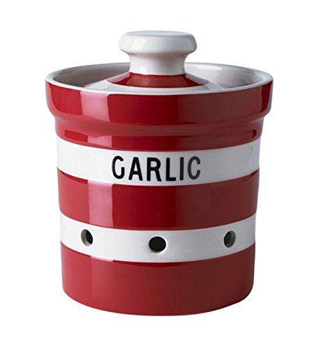 Cornishware Red and White Stripe Stoneware Garlic Keeper