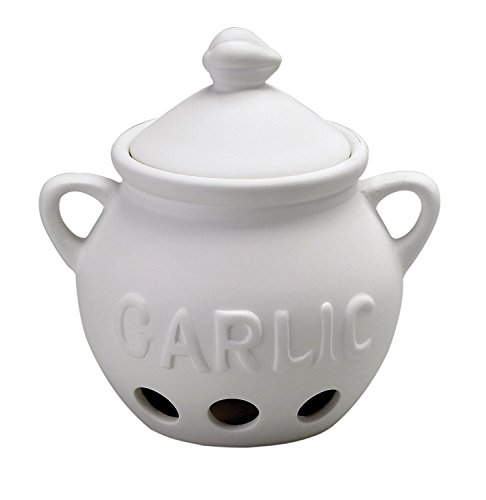 HIC Garlic Clove Keeper Vented Ceramic Storage Container with Lid White 525-Inch by 55-Inch