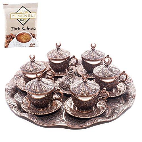 SET of 6 Ottoman Turkish Greek Arabic Coffee Espreso Serving Cup Saucer Kahveda Copper
