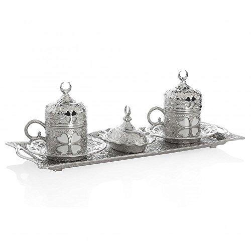 11 Pieces Set of 2 Turkish Greek Coffee Espresso Cup Saucer Set for Serving - Vintage Clover Design Ottoman Arabic Gift Set Silver