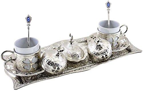 Clover Design Brass Premium Turkish Greek Arabic Coffee Espresso Serving Set for 2Cups Saucers Lids Tray Delight Sugar Dish 11pc Silver