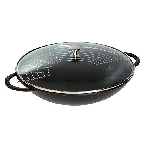 Staub Cast-Iron 7-Quart Wok with Glass Lid Black