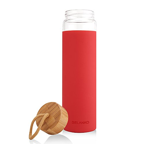 BELANKO 20oz Glass Water Bottle with Silicone Protective Sleeve and Bamboo Lid - BPA Free
