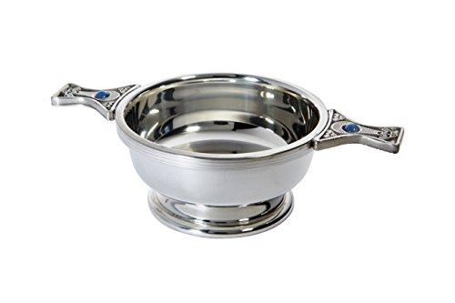 Wentworth Pewter - Standard Pewter Gem Handle Quaich Whisky Tasting Bowl Loving Cup Burns Night