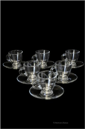 Set of 6 Glass 25oz Demitasse Espresso Cups Glasses with Saucers